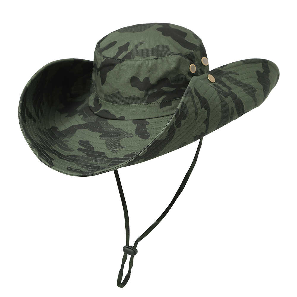กลางแจ้ง Boonie หมวกกว้าง Breathable ล่าสัตว์ Safari Sun Hat ปลาคาร์พ Fishing Tackle Pesca