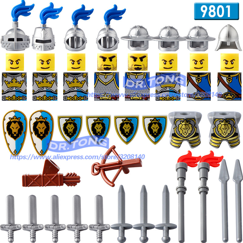 DR.TONG Castle Kingdoms Blue Lion Red Lion Green Dargon Knights Rider Solider Shield Sword Building Blocks Diy Toys