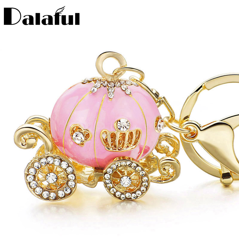 Dalaful Pumpkin Carriage Crystal For Hallowmas Fairy Tale Keychain Purse Bag Buckle HandBag Pendant For Car Keyring Holder K227