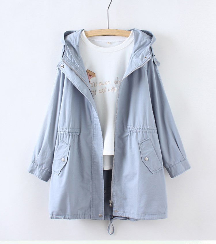 Women   Basic     Jacket   Zipper Hooded Casual Solid Color Long Coat Outwear Loose Coat Women Chothing