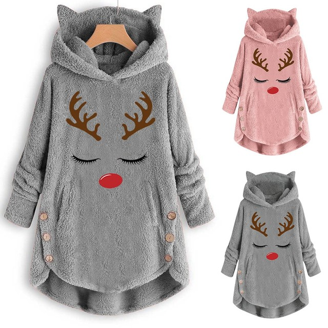 Women Printed Cat Ears Hooded Large Size Long Sleeve Button Sweater Warm Pullover Christmas Casual Fashion Tops Sweaters 19Nov05