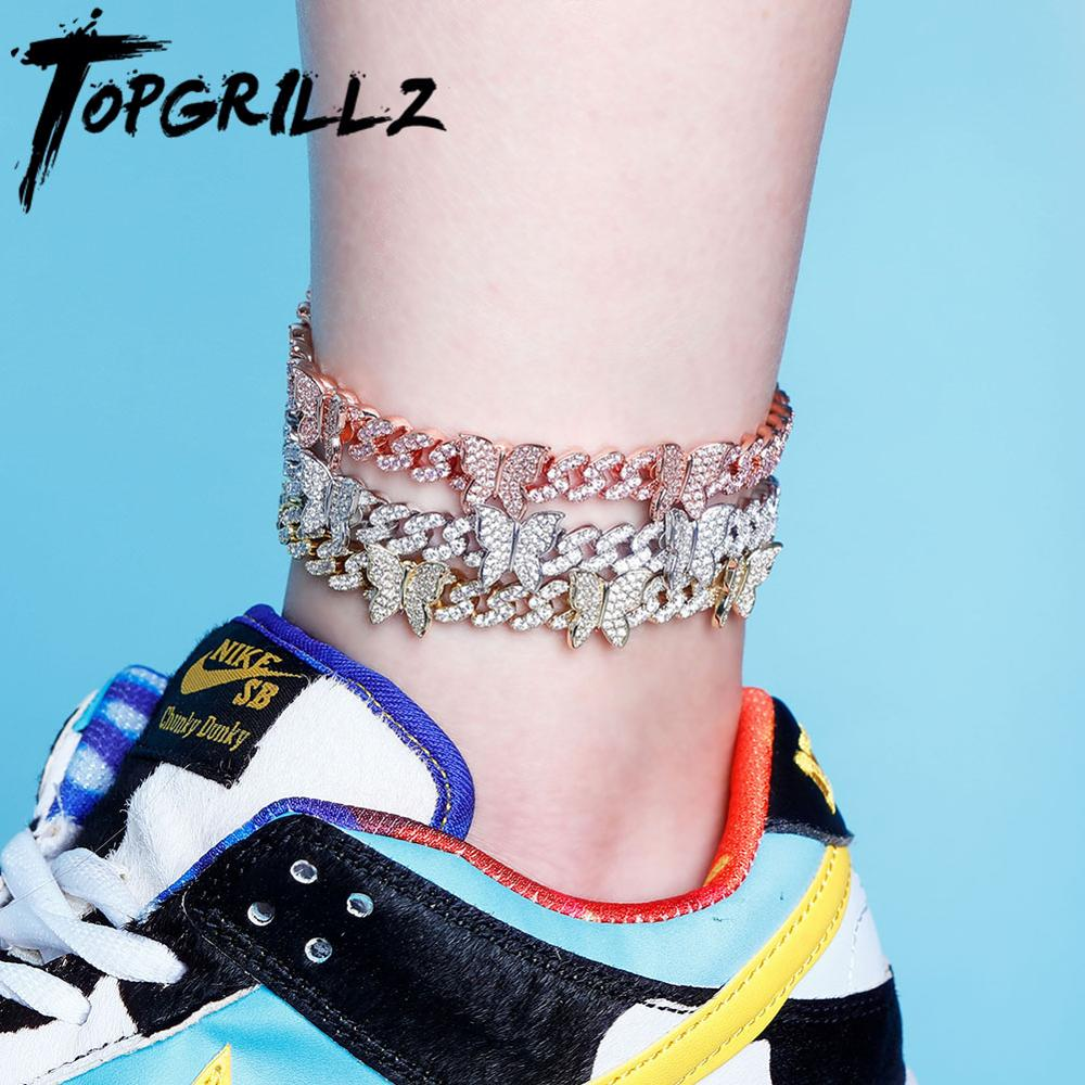 "TOPGRILLZ Butterfly Chain 8MM Anklet Cuban Chain Anklet Iced Out Cubic zirconia Anklet Hip Hop Charm Jewelry For Gift 9""10"