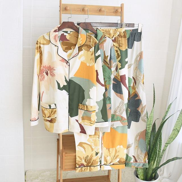 אביב חדש נשים 100% כותנה פיג מה עלה דקל הדפסת תורו למטה צווארון ארוך שרוול מכנסיים 2 חליפת חתיכה בגדי בית