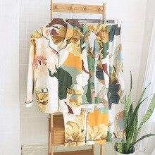 Wiosna nowe kobiety 100% bawełniana piżama liść palmowy drukowanie piżamy skręcić w dół kołnierz z długim rękawem spodnie 2 sztuka garnitur ubrania domowe