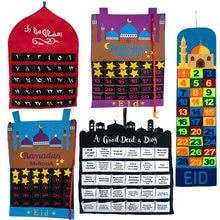 2021 eid mubarak 30 dias calendário do advento pendurado ofício contagem regressiva calendário para o ramadã decorações crianças eid mubarak presentes suprimentos