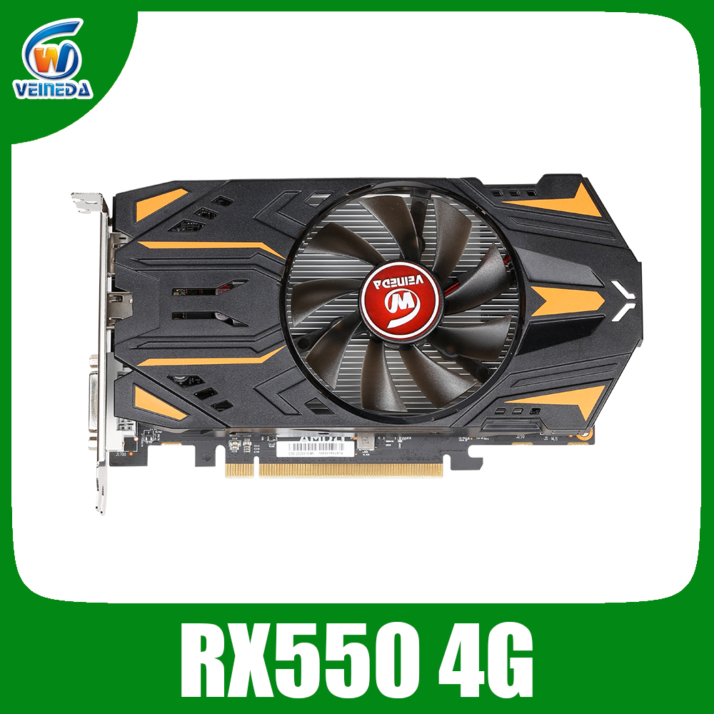 VEINEDA RX550 4GB Graphics Cards GDDR5 128bit GPU For AMD Radeon rx 550 series Video Card Desktop PC Video Gaming