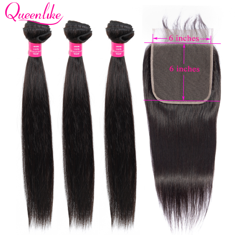 Queenlike Extension 100% Human Hair Bundles With 6x6 Closure Brazilian Hair Weave Bundles Straight 3 Bundles With Lace Closure