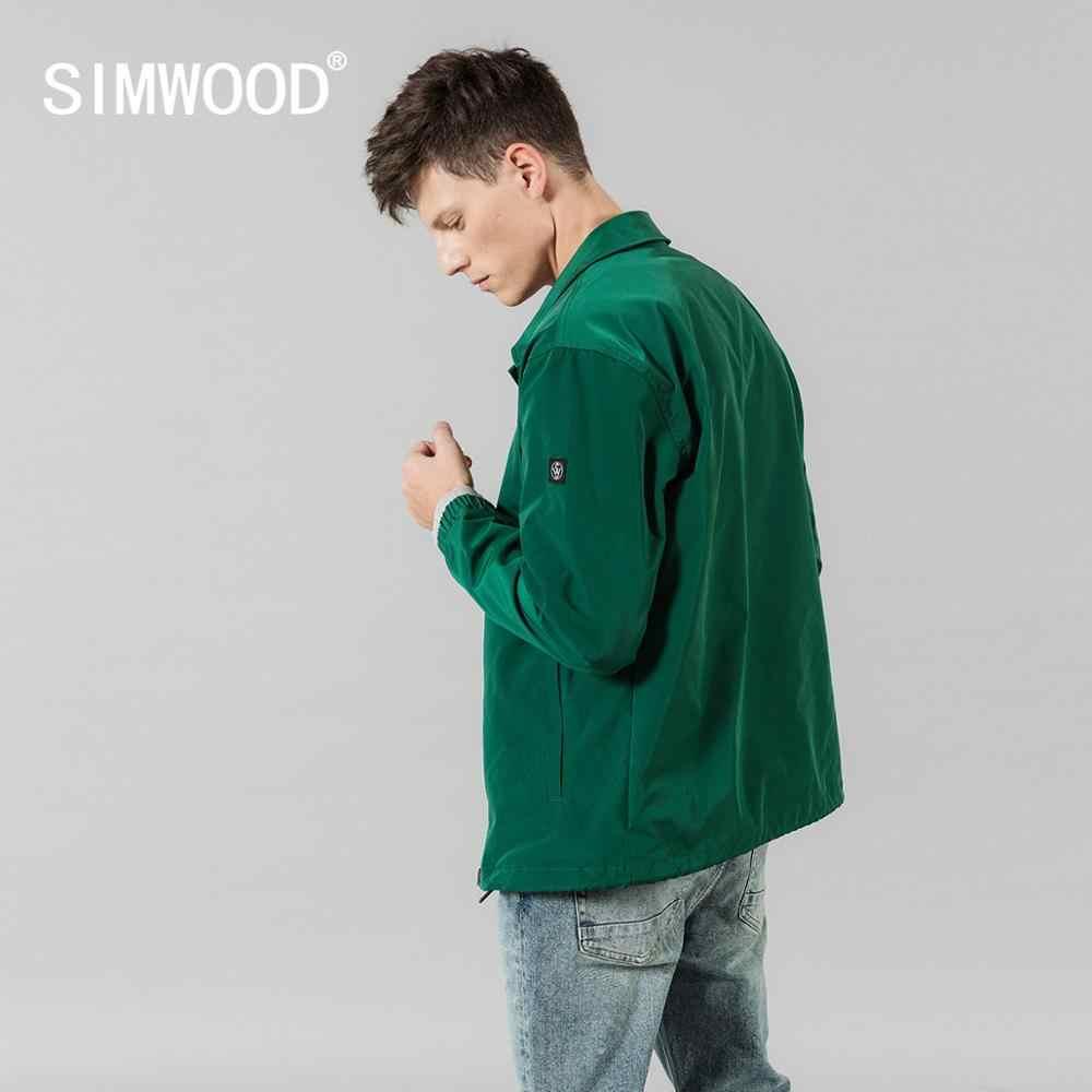 Simwood 2020 primavera novos jaquetas homens moda minimalista blusão outerwear de alta qualidade si980627