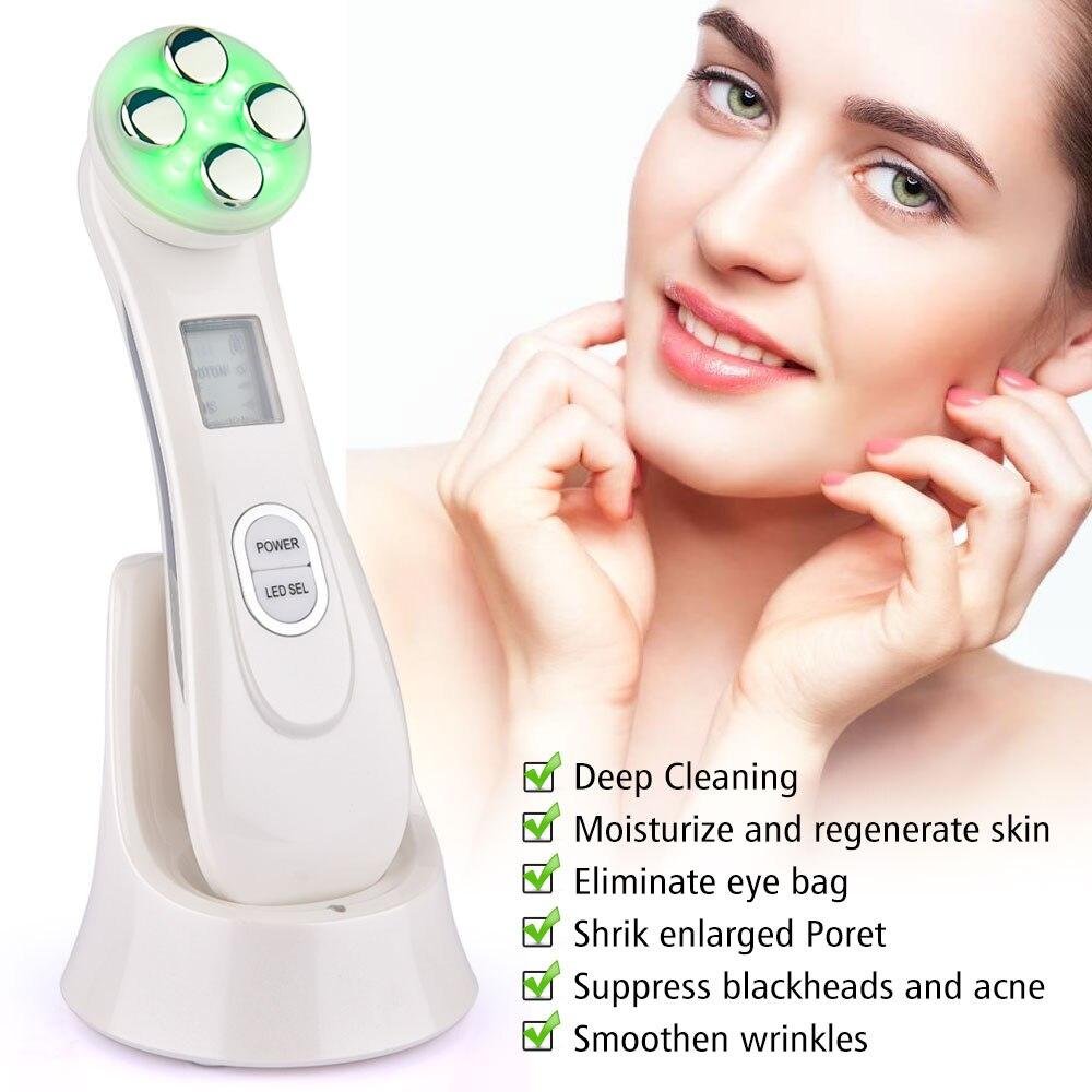 5 in 1 Gesichts Mesotherapie Elektroporation RF Radio Frequenz LED Photon Therapie Schönheit Maschine Gesicht Lift Hautpflege Gesicht Massager