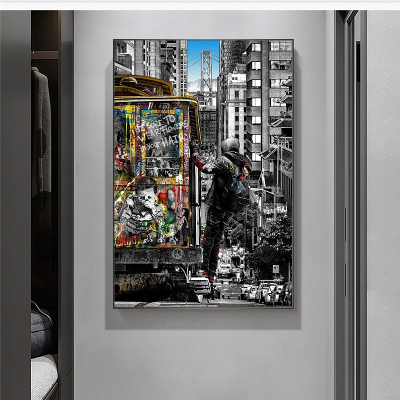 Banksy Wall Art Paintings Street Landscape of London City Canvas Paintings Graffiti Pop Art Posters And Prints for Home Decor