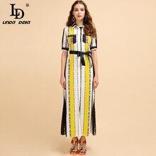 LD LINDA DELLA Fashion Runway Summer Autumn Sets Women's Short Sleeve Striped Printed Bow Tie Elegant Casual Maxi Long Dresses цена и фото