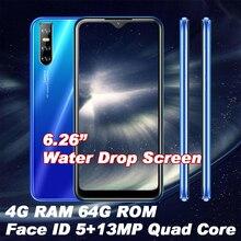Примечание 8 Pro капли воды Экран 4G Оперативная память 64G Встроенная память 4 ядра смартфонов мобильных телефонов уход за кожей лица разблокир...
