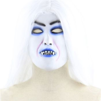 Halloween Horror White, Haired Witch Mask Long Hair Curse Ghost Headgear Party Props