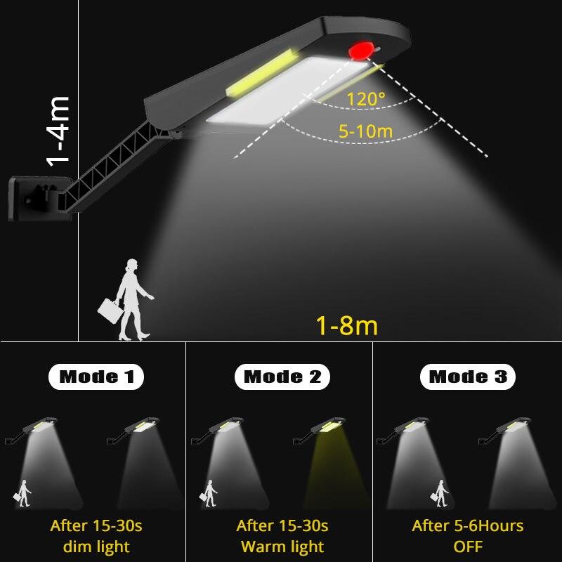 36LEDs PIR motion sensor Solar Straße licht 3 modi Outdoor solar licht wand lampe Wasserdicht Energiesparende Yard Pfad hause Garde (5)