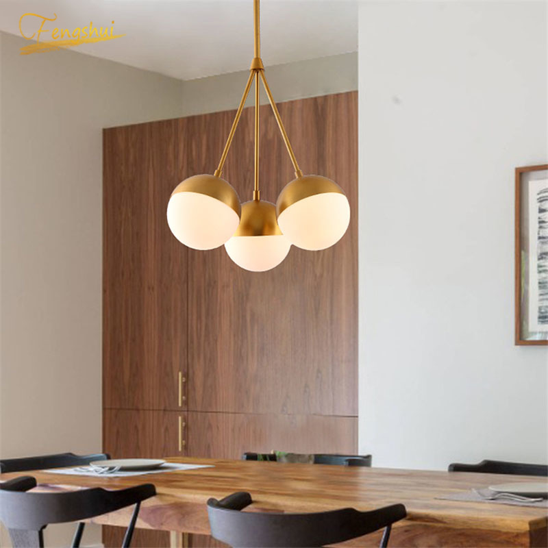 Modern LED Copper Pendant Lights Globe Glass Hanging Lamps Living Room Study Bedroom Lamp Indoor Decor Lighting Light Fixtures