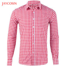 Joycosin 2019 Herfst Winter Mannen Shirt Casual Mode Effen plaid Vlakte shirt lange mouw Slim fit Formele Zakelijke mannen tops(China)