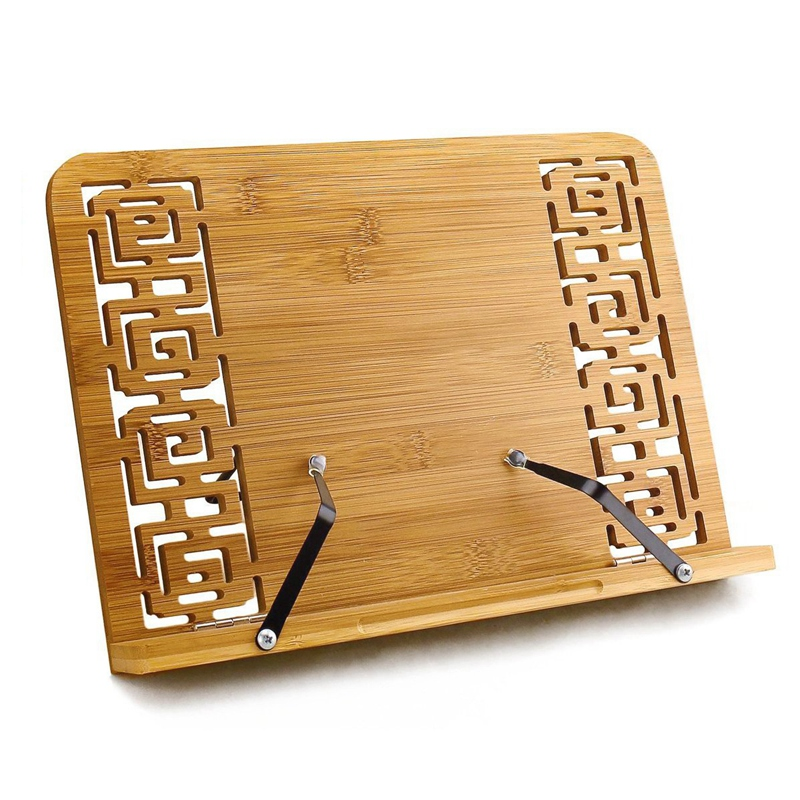 Reading Rest Cookbook Stand Holder  Middle Size  Foldable Tablet Cook Book Stand Bookrest with Adjustable Backing & Elegant Patt|  - title=