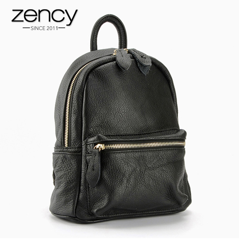 60% Off Big Sale Zency 100% Genuine Leather Women Backpack Preppy Style Girls Schoolbag Ladies Travel Bag Bronze Knapsack Black
