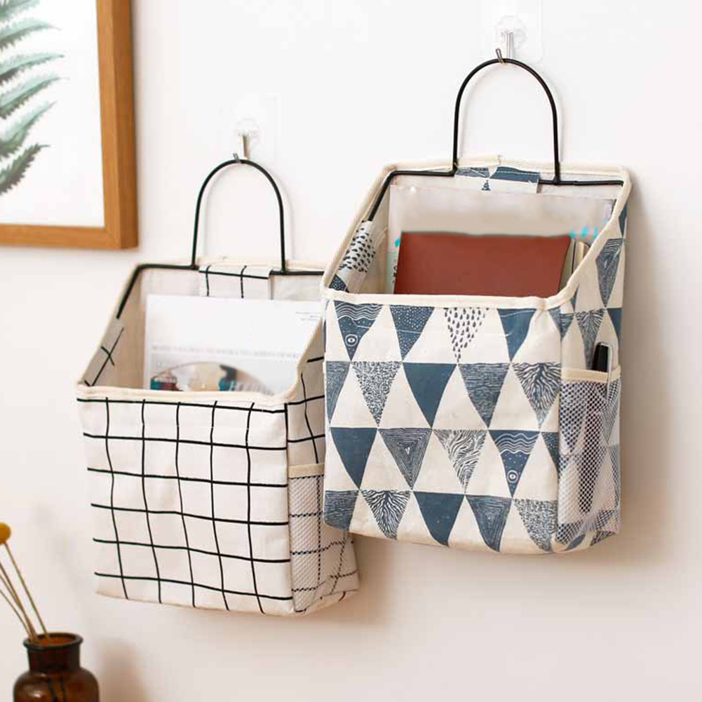 Wall Hanging Storage Bag Book Magazine Phone Holder Pouch Organizer With Hook Jewelry Organizer Home Office Container