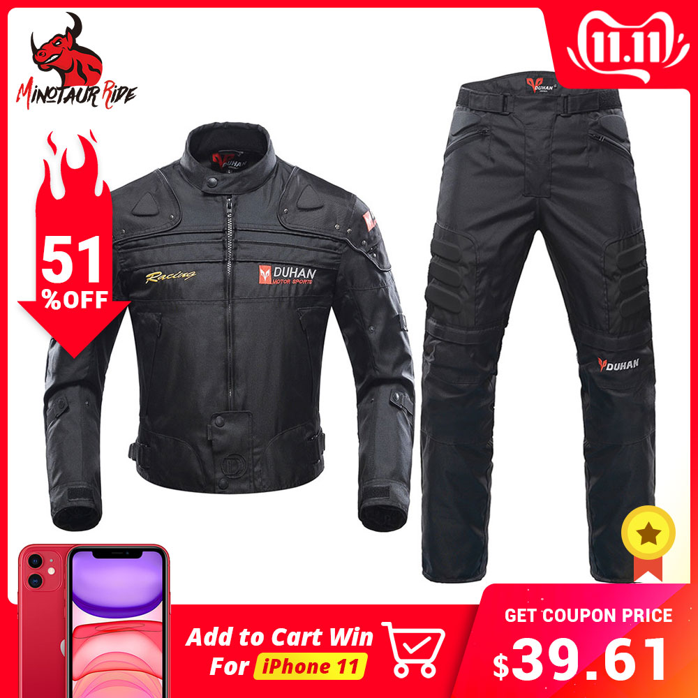 DUHAN Motorcycle Jacket Protective Gear Moto Men Motocross Off Road Racing Jacket Body Armor+ Riding Pants Clothing Set-in Jackets from Automobiles & Motorcycles
