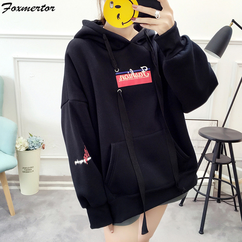 Hoodies Women 2019 Women Casual Sweatshirts Long Sleeve Hoodies Tracksuits Female Black Red Sportswear Moletom Feminino 2XL