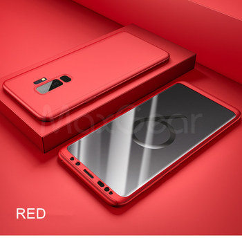 360 Full Cover Protective Case+Glass For Samsung Galaxy S20 Ultra S8 S10 S9 Plus Note 10 S 7 A50 A70 A71 A51 A40 S6 S7 Edge A 70 - For Note 8, Red