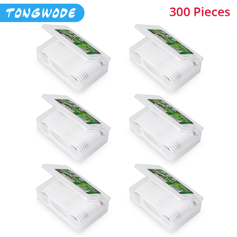 300 Pieces Disposable Dental Floss Case Oral Hygiene Nylon Wire Flossers Deep Cleaning Gums Tooth Cleaning Stick None Electric