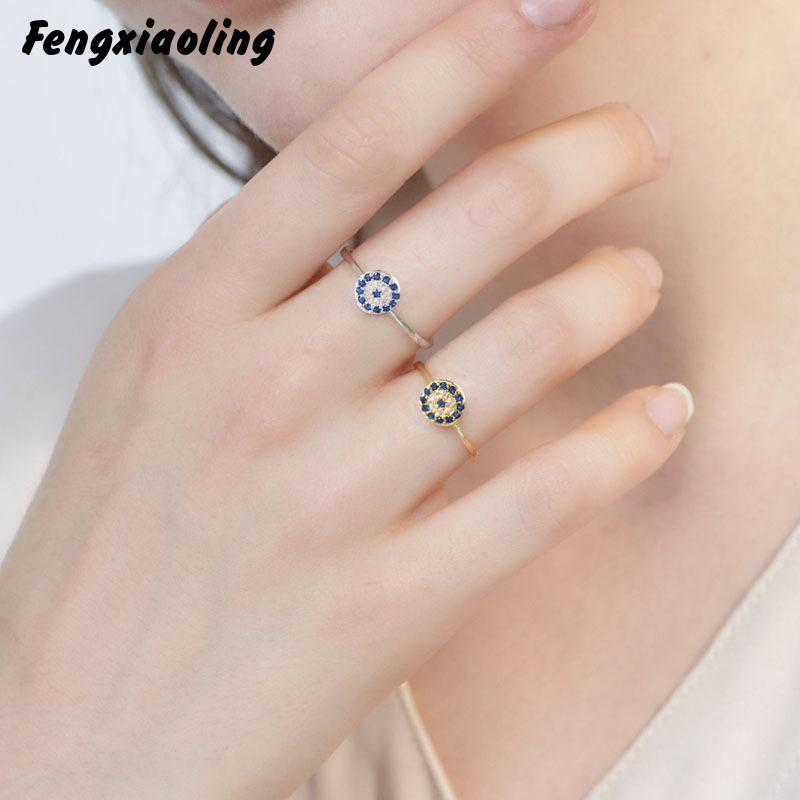 New Arrivals Really Pure Silver Blue Eyes Cubic Zirconia Rings For Women 925 Sterling Silver Devil's Eye Elegant Jewelry Ring