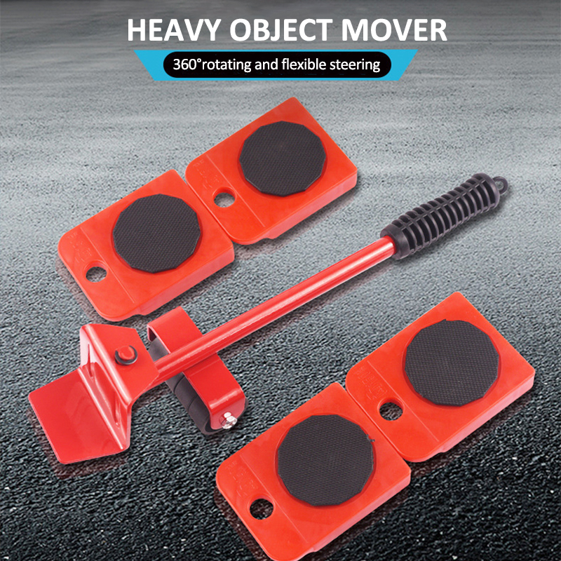 5Pcs Furniture Mover Tool Transport Lifter Set Heavy Stuffs Moving Wheeled Roller Bar Household Hand Tools Professional Sets-0