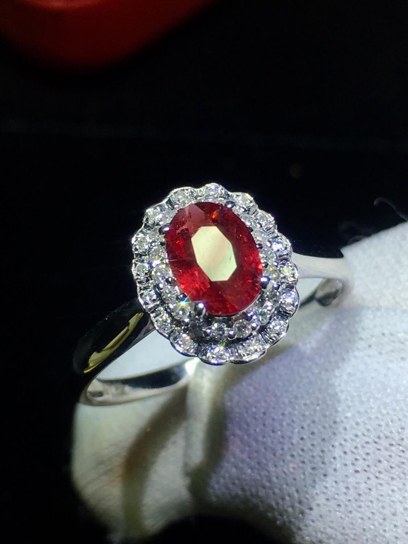 Хорошее ювелирное изделие из чистого 18 K Белый Золотой, Настоящее натуральное голубиное кроваво красное рубиновое ювелирное изделие с брил