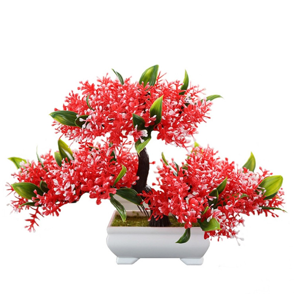 Fake Tree Small Potted Green Plant Lotus Pine Tree Simulation Plant Flower Bonsai Set Home Decor Table Top Decoration Craft Hot in Artificial Plants from Home Garden