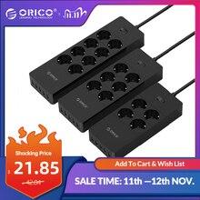 Orico Elektrische Socket Eu Plug Extension Socket Outlet Overspanningsbeveiliging Eu Power Strip Met 5x2.4A Usb Super Lader Poorten