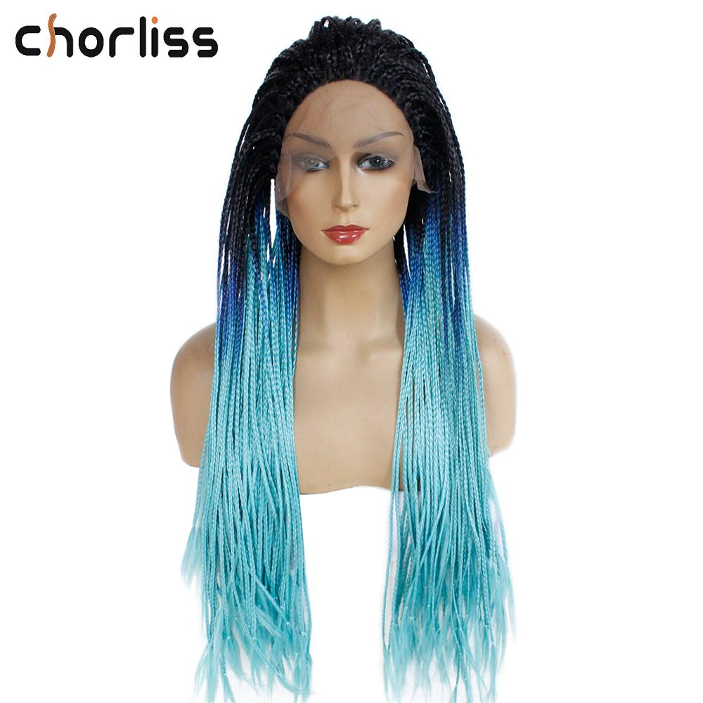 Long Synthetic Lace Front Wig For Women Hand Made Braided Box Braids Wig Chorliss Black Blue Cosplay Wig High Temperature Wig