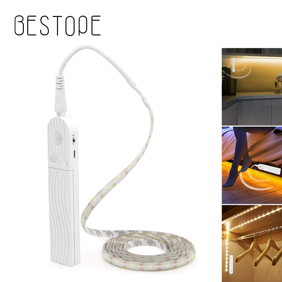 Sensor LED Strip 5V 1M 2M 3M Wireless Indoor Motion Night Light Under Bed Lamp For Cabinet Stairs Battery And USB Powered