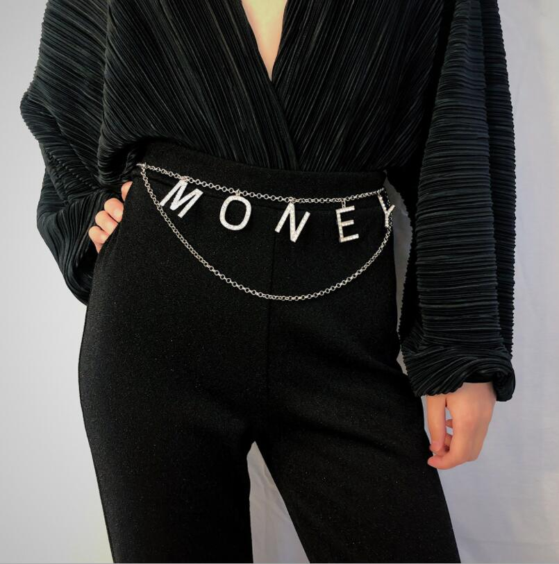 Fashion Simple Letter Women's Belt Waist Chain Full Diamond Rhinestone Crystal Belt Luxury Large Party Waist Belt