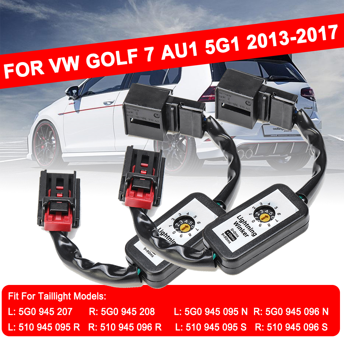 For Volkswagen VW Golf 7 1Pair Dynamic Turn Signal Indicator LED Taillight Left&Right Tail Light Add-on Module Cable Wire Harnes