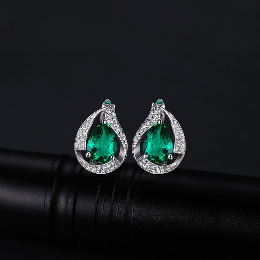 JPalace Created Nano Emerald Hoop Earrings 925 Sterling Silver Earrings For Women Gemstones Korean Earings Fashion Jewelry 2019