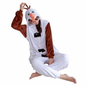 Image 1 - Adult Kids Snowman Kigurumi Pajamas Women Men Boy Girl Cartoon Cosplay Costume Winter Flannel Warm Onesies Pajamas