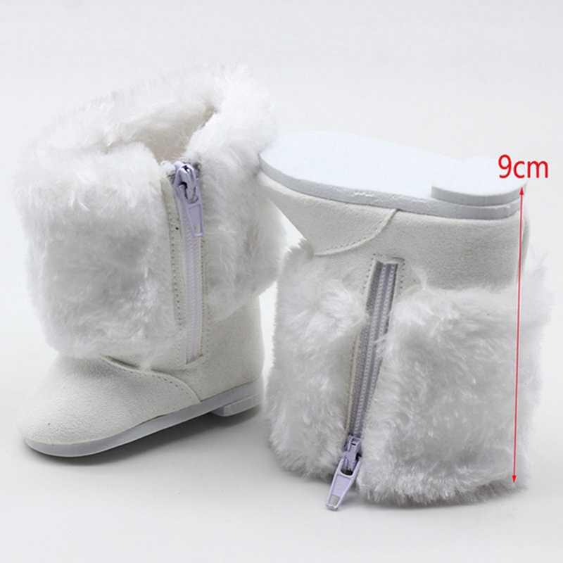 Kinderen Meisjes Speelgoed DIY Poppen Bont Witte Snowboots Schoenen Fit Voor 18 Inch Amerikaanse Pop Accessoire Baby Meisje Gift