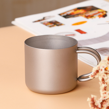 Tiartisan New Arrival 110ml Camping Titanium Cup Titanium Double Wall Cup Water Coffee Tea Cup Mug with Foldable Handle