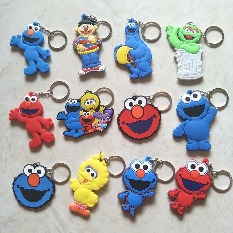 Anime Sesame Street Keychain Elmo Big Bird Cookie Monster Oscar Ernie Little Plum Cute Fun Cartoon PVC Pendant Key Chain Jewelry