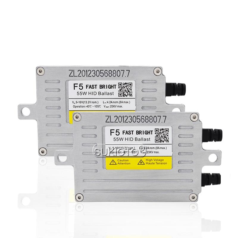 SUKIOTO AC 12V HID DLT Xenon Ballast 55W F5 Fast Start Slim Block Ignition For Car Headlight H1 H3 H7 H8 H11 HID Coversion Kit (1)