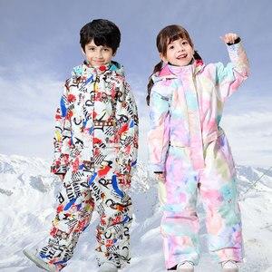 Image 2 - 2019 新スキースーツ少年少女の冬子供防風防水スーパー暖かい雪スキーとスノーボードの服