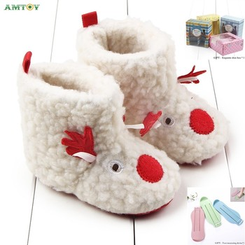 AMTOY Unisex Baby Boys Girls Shoes Soft Anti-slip Sole Newborn Infant First Walkers Shoes 0-3-6-12-18 Months Skin Friendly image