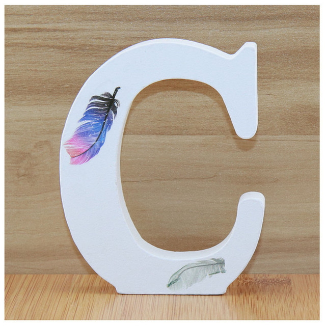 1pc 10cm Wooden Letters Alphabet Name Letter Standing Feather DIY Handmade Design Height Art Crafts Home Decor 3.94 Inches 2