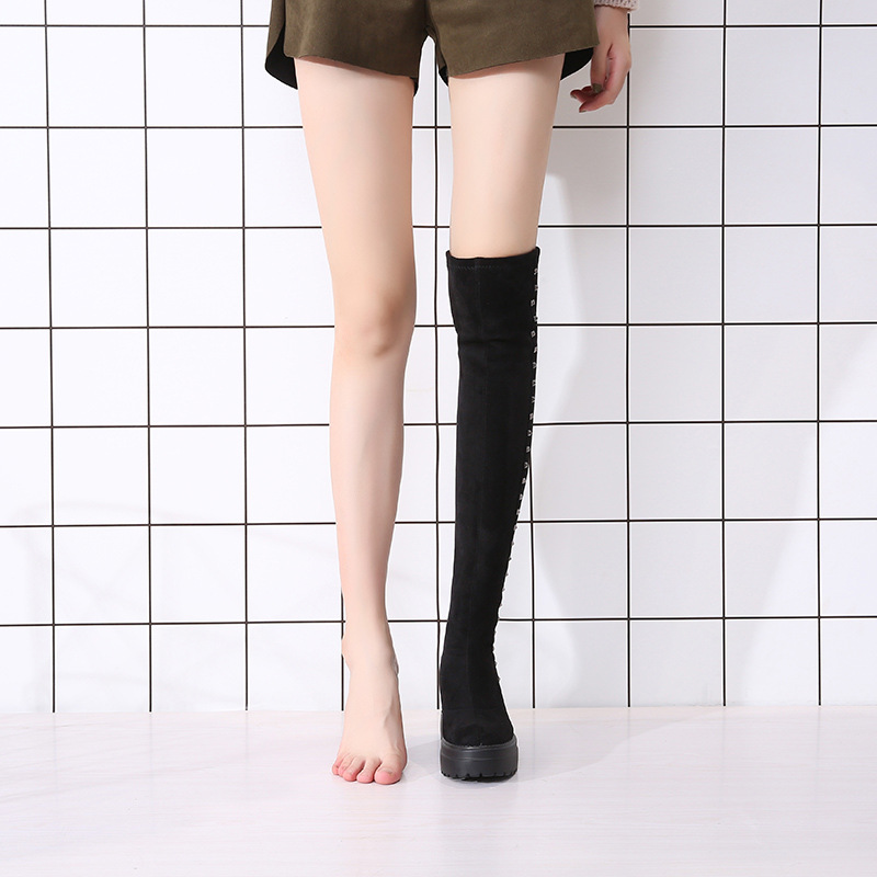 2019 Autumn And Winter Elevator Over-the-Knee Boots Children Thick Bottomed Casual Mao Ding Kuan High Boots Women's Slimming Ela