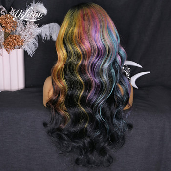 ALIFITOV Ombre Rainbow Wig  with Black Lace Front 100% Human Hair.