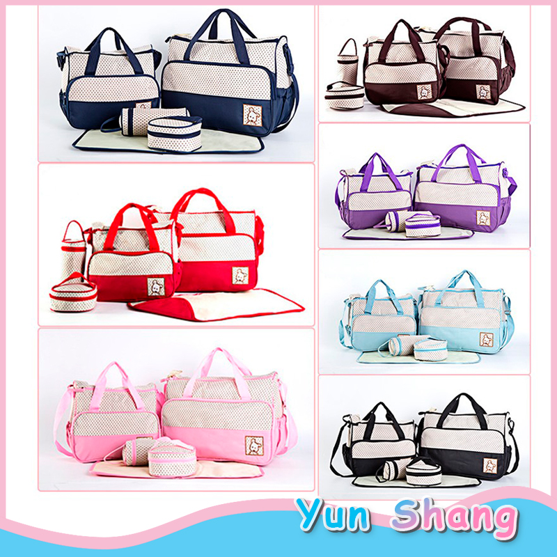 5pcs Sets Multifunction Diaper Bags Baby Nappy Changing Bags Mummy Maternity Care Nappy Large Capacity Inner Diapers Bottle Bag