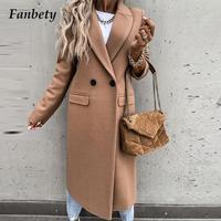 Cappotto di lana da donna autunno inverno collo lungo cappotto di lana moda elegante solido abbottonato cappotto Casual Vintage manica lunga giacca calda