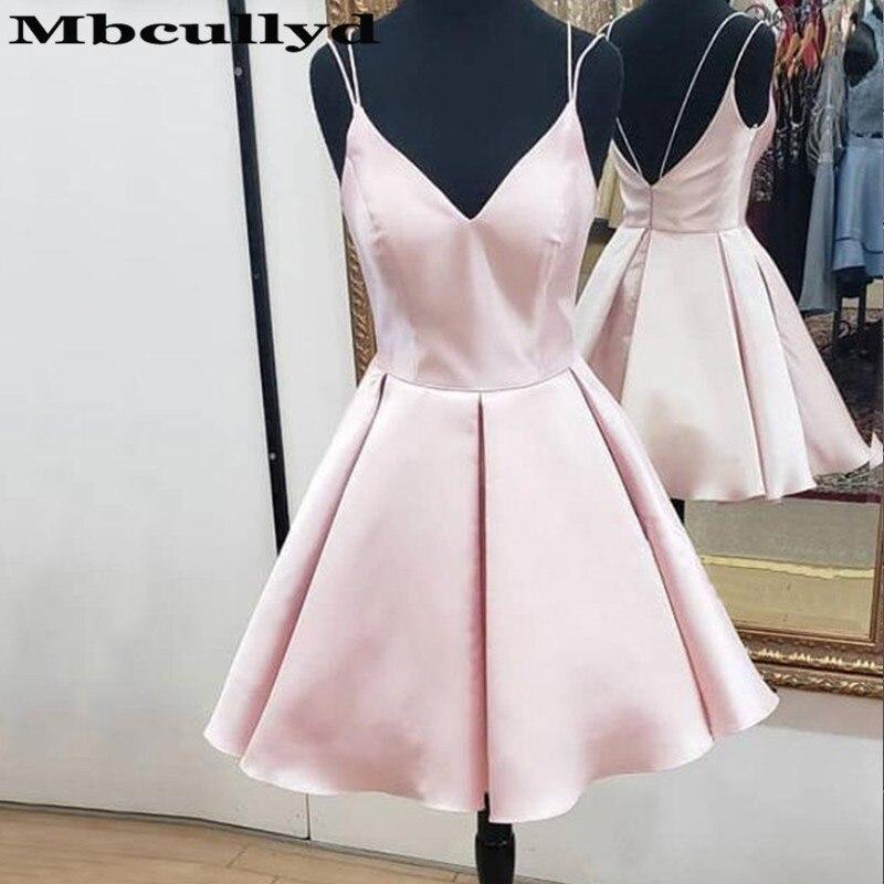 Mbcullyd Pink V-neck Prom Dresses Short Elegant Satin Backless Vestidos De Graduacion Largos 2019 A-Line Party Gowns Hot Sale